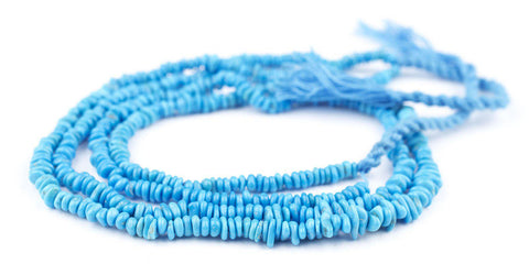Rondelle-Style Genuine Sleeping Beauty Turquoise Beads (Mid-Blue) - The Bead Chest