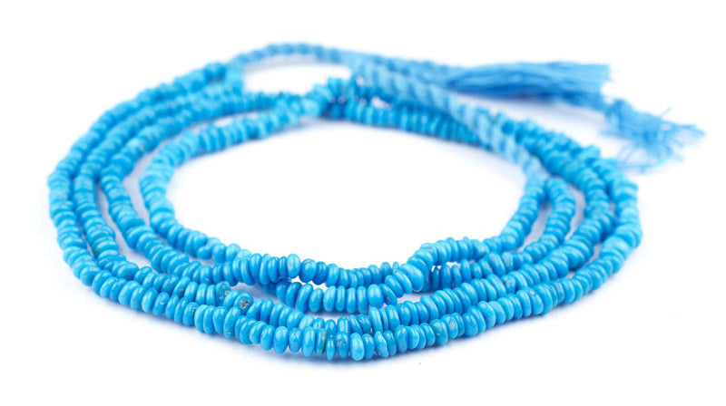 Rondelle-Style Genuine Sleeping Beauty Turquoise Beads (Deep-Blue) - The Bead Chest