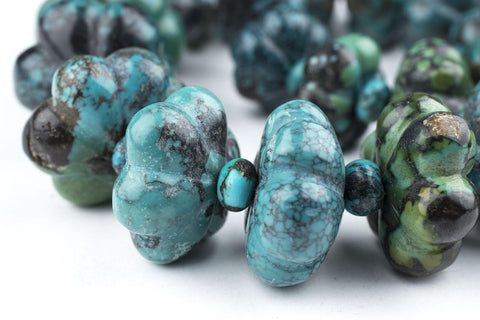 Flower-Shape Authentic Turquoise Beads - The Bead Chest