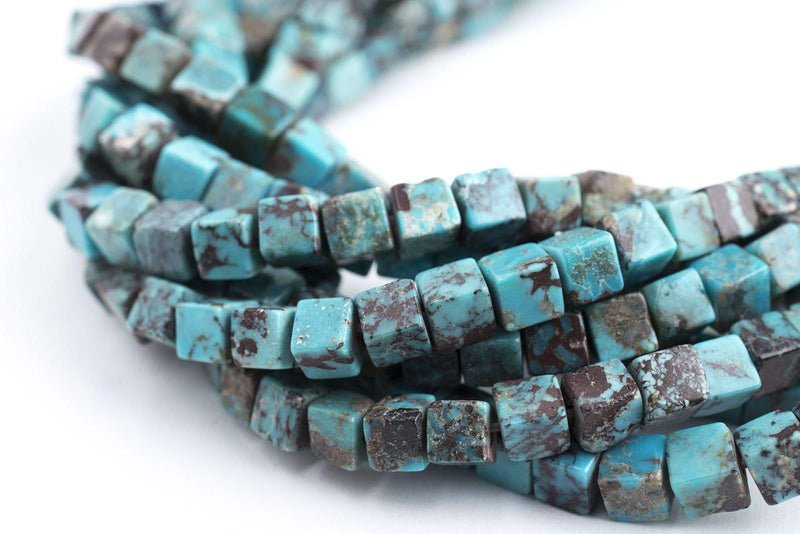 Authentic Blue Turquoise Stone Cube Beads (4mm) - The Bead Chest