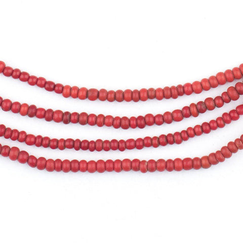 Vintage Bright Red Glass Seed Beads (3mm) - The Bead Chest