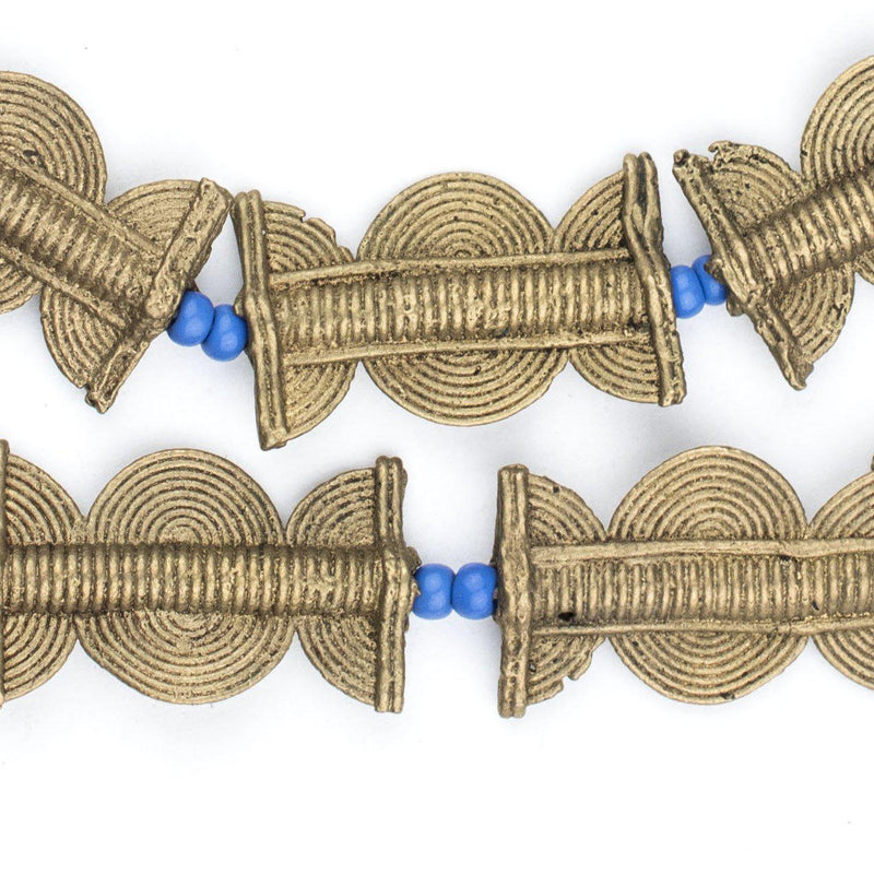 Brass Baule Beads, Sun Moon Design (30x18mm) - The Bead Chest