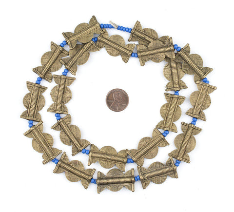 Image of Brass Baule Beads, Sun Moon Design (30x18mm) - The Bead Chest