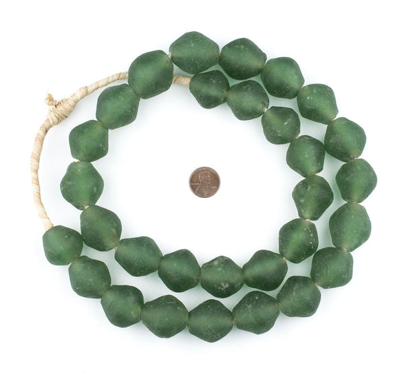 Jumbo Light Green Bicone Recycled Glass Beads (25mm)