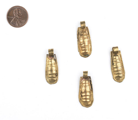 Ethiopian Brass Telsum Teardrop Beads (Set of 4) - The Bead Chest