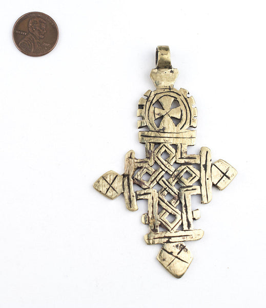 Brass Ethiopian Coptic Cross (Large)