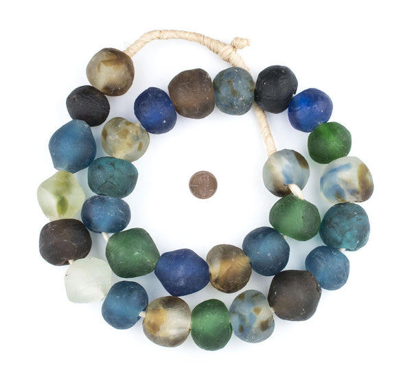 Super Jumbo Mixed Recycled Glass Beads (34mm)