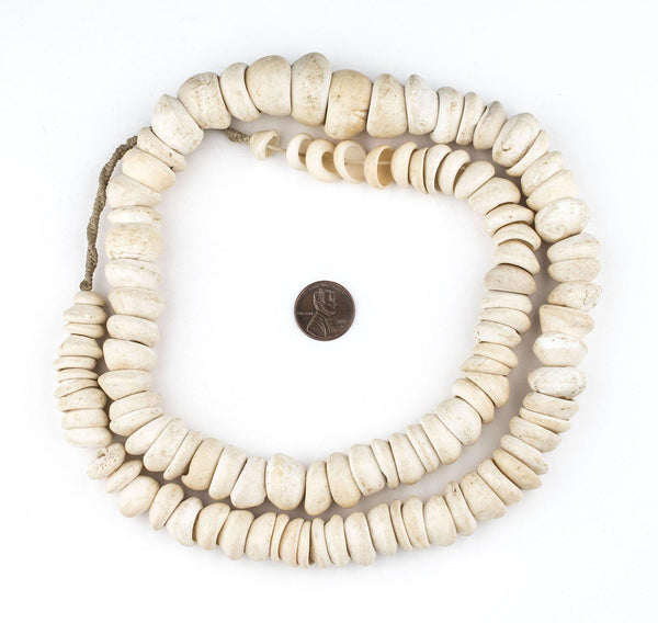Natural West African Shell Beads (White)