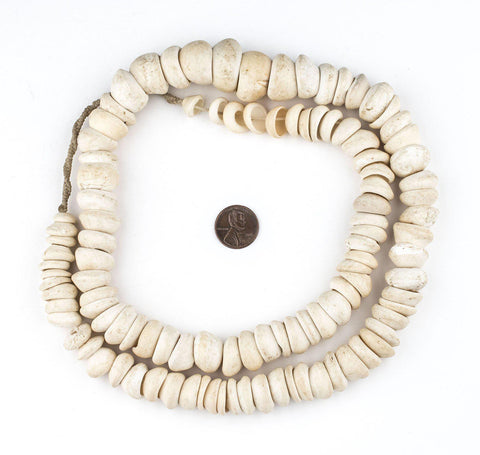 Natural West African Shell Beads (White) - The Bead Chest