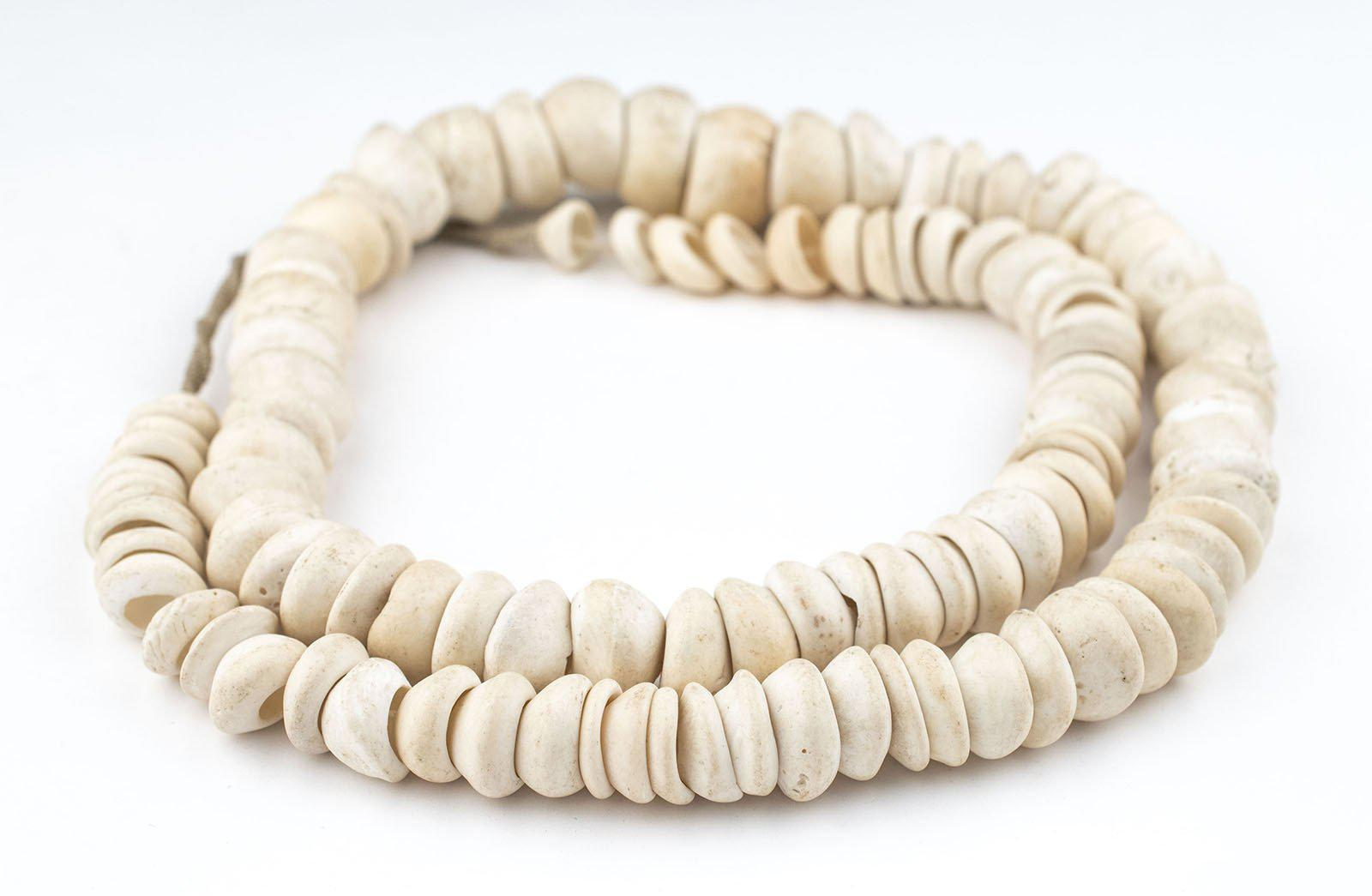 Natural Zebra Shell Beads 13mm Black and White Unusual 16 Inch Strand