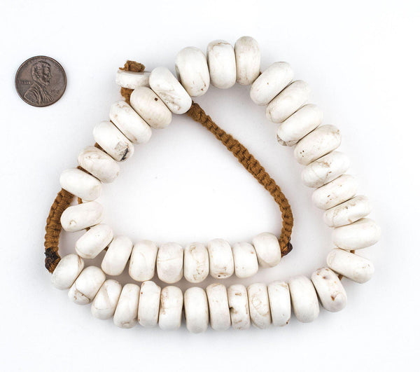 Graduated Rondelle White Naga Shell Beads