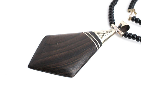 Ebony Tuareg Pendant (Diamond) - The Bead Chest