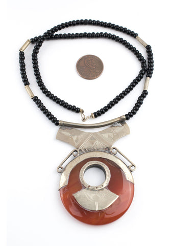 Carnelian Donut Tuareg Stone Pendant - The Bead Chest