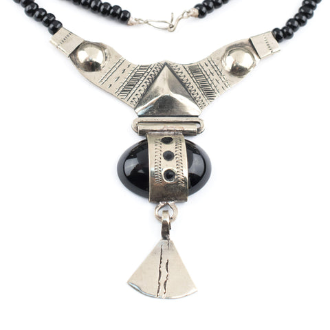Onyx Tassel Tuareg Stone Pendant - The Bead Chest