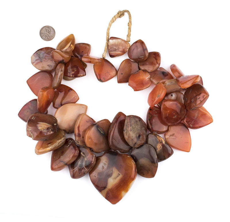 Jumbo Carnelian Medallion Spade Stone Beads - The Bead Chest