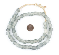 Light Grey Swirl Recycled Glass Beads (11mm)