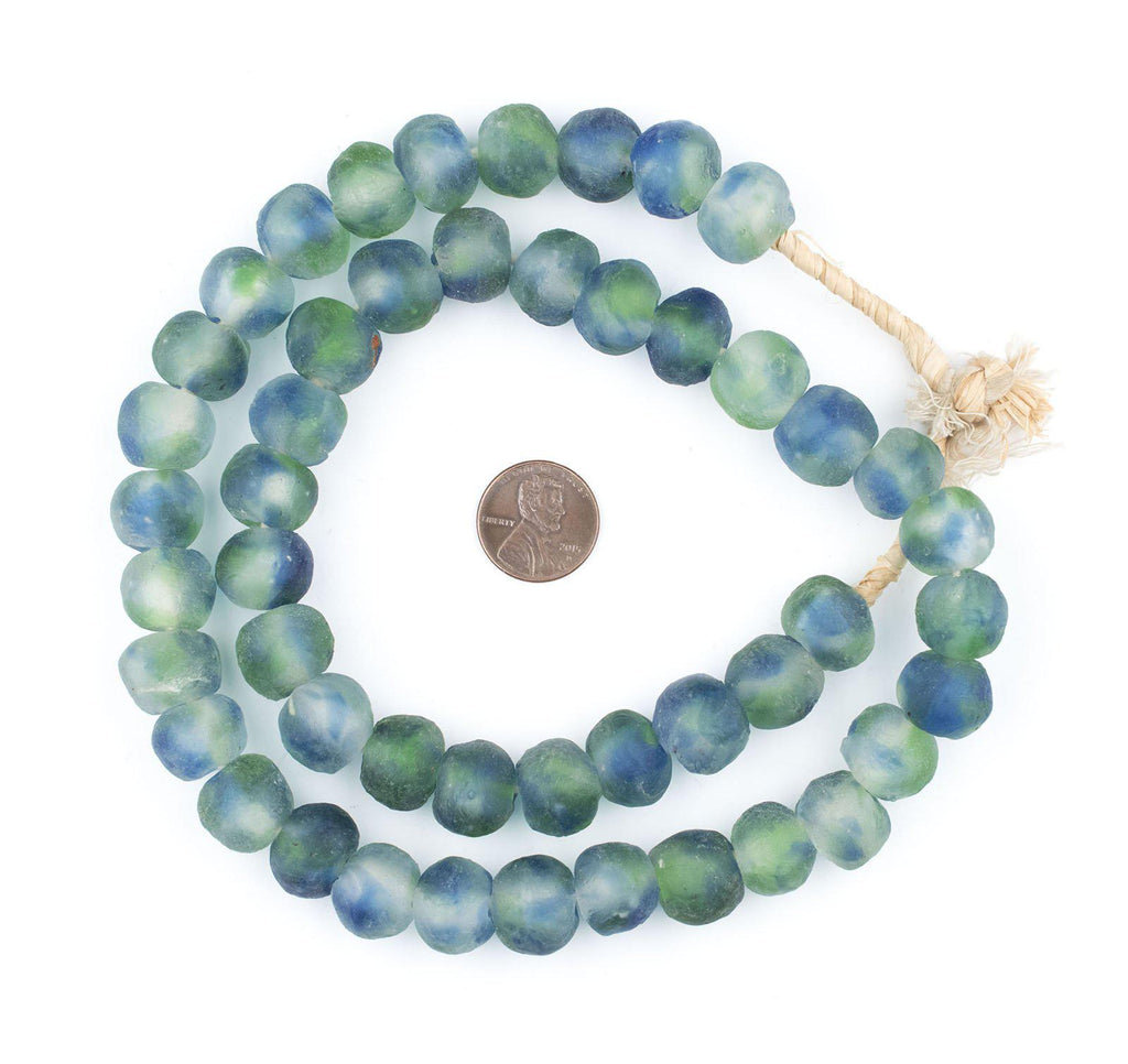 Blue, Green, White Recycled Glass Beads (14mm) - The Bead Chest