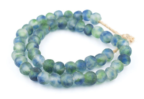 Image of Blue, Green, White Recycled Glass Beads (14mm) - The Bead Chest