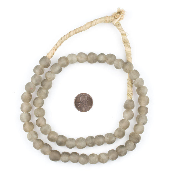 Light Groundhog Grey Recycled Glass Beads (11mm)