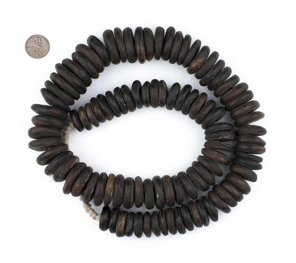 Graduated Nigerian Camel Bone Disk Beads (Chocolate Brown) - The Bead Chest