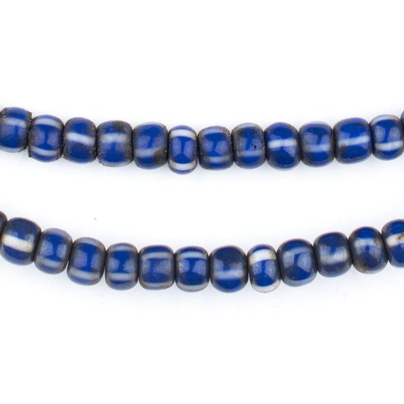 Blue & White Chevron Beads (6mm) - The Bead Chest