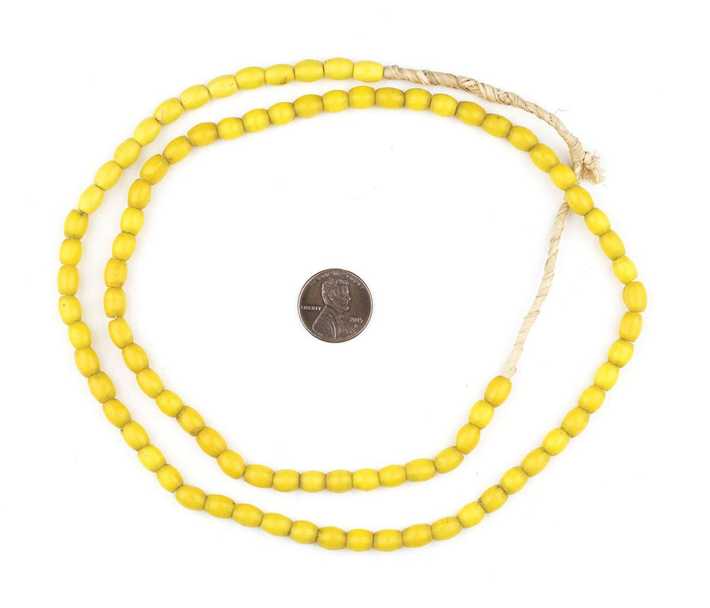 Yellow Vintage Rice Beads (7x5mm) - The Bead Chest