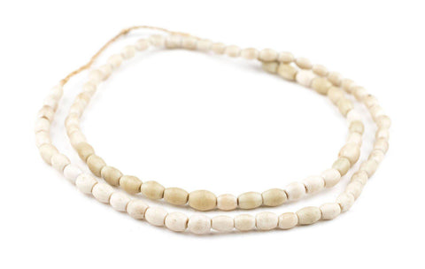 Antiqued White Vintage Rice Beads (7x6mm) - The Bead Chest