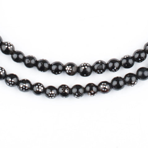 Round Dotted Silver Inlaid Black Coral Arabian Prayer Beads (5mm) - The Bead Chest