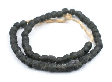 Charcoal Recycled Glass Beads (9mm) - The Bead Chest