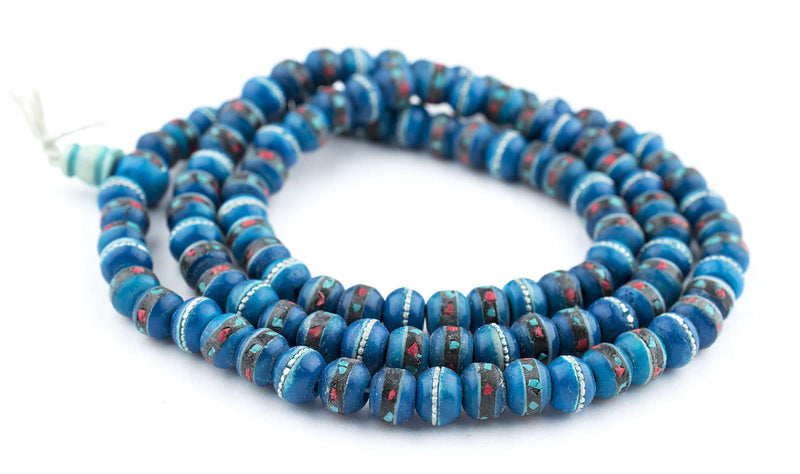 Turquoise Inlaid Bone Mala Beads (10mm) - The Bead Chest