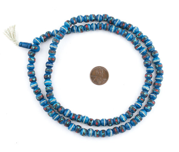 Turquoise Inlaid Bone Mala Beads (8mm)