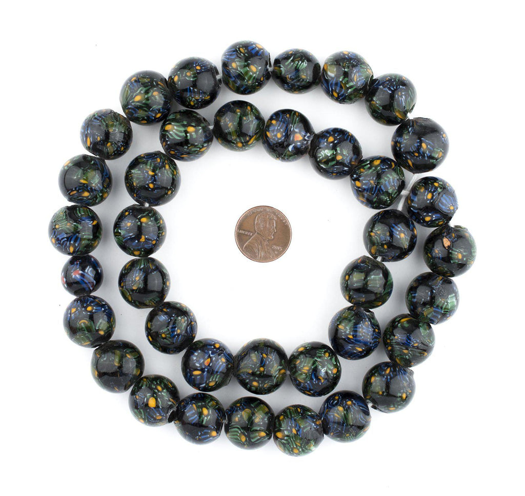 Midnight Green Round Millefiori Beads (18mm) - The Bead Chest