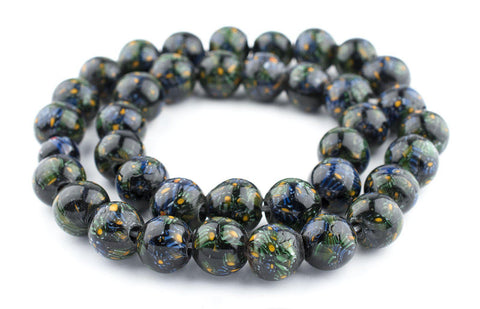 Image of Midnight Green Round Millefiori Beads (18mm) - The Bead Chest