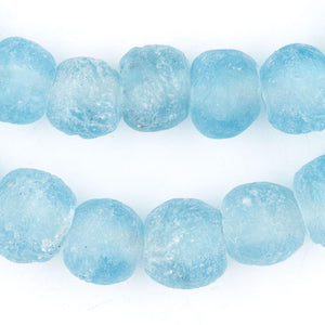 Baby Blue Recycled Glass Beads (14mm) - The Bead Chest