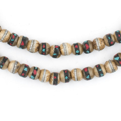 Rustic Inlaid Yak Bone Mala Beads (6mm) - The Bead Chest