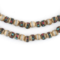 Rustic Inlaid Yak Bone Mala Beads (6mm)