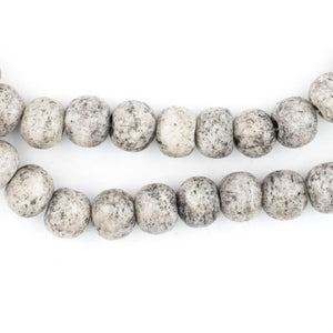 Speckled Round Grey Bone Beads (8mm) - The Bead Chest