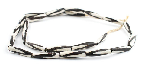 Zebra Batik Bone Beads (Elongated) - The Bead Chest