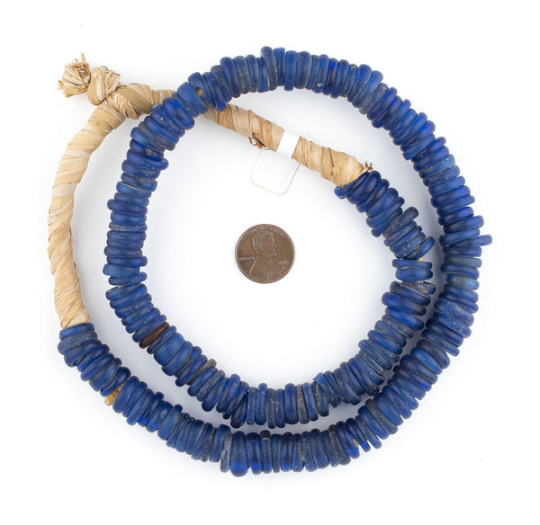 Antique Blue Glass Dogon Donut Beads