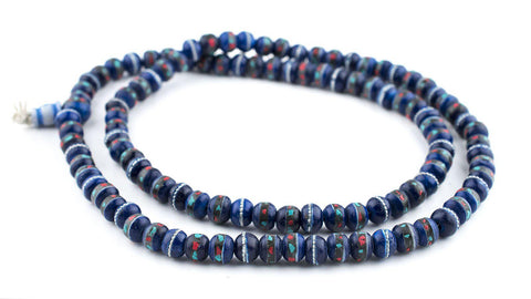 Image of Cobalt Blue Inlaid Yak Bone Mala Beads (10mm) - The Bead Chest