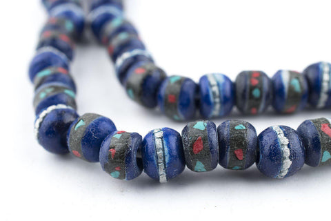 Image of Cobalt Blue Inlaid Yak Bone Mala Beads (6mm) - The Bead Chest