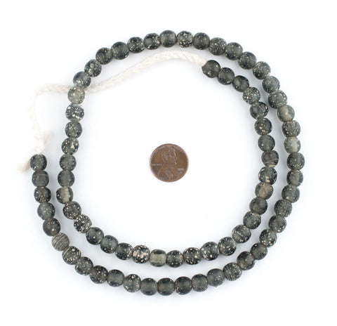 Dark Grey Ancient Style Java Glass Beads (9mm) - The Bead Chest