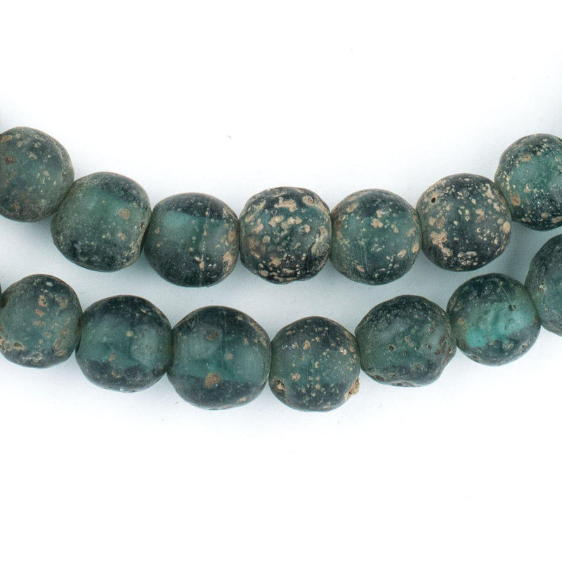 Forest Green Ancient Style Java Glass Beads (9mm) - The Bead Chest