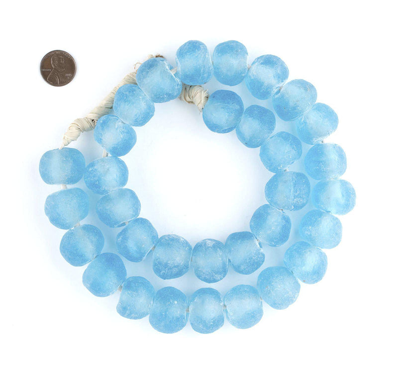 Jumbo Baby Blue Recycled Glass Beads (23mm) - The Bead Chest
