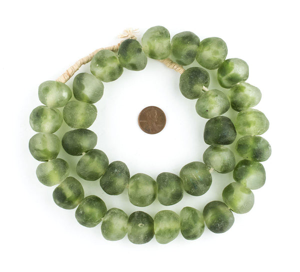 Jumbo Forest Green Swirl Recycled Glass Beads (23mm)