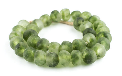 Jumbo Forest Green Swirl Recycled Glass Beads (23mm) - The Bead Chest