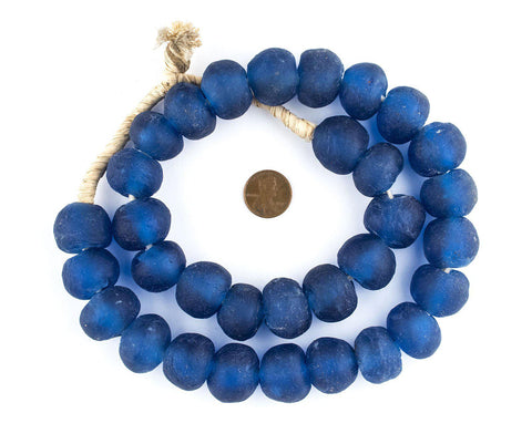 Jumbo Blue Recycled Glass Beads (22mm) - The Bead Chest