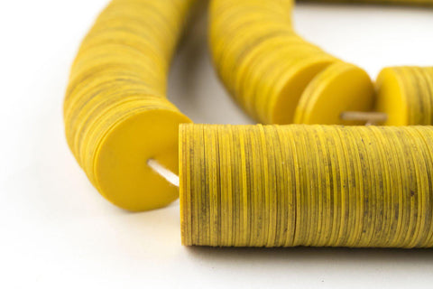 Yellow Vintage Vinyl Phono Record Beads (15-20mm) - The Bead Chest