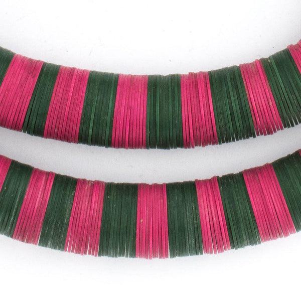 Pink & Dark Green Vintage Vinyl Phono Record Beads (15mm) - The Bead Chest