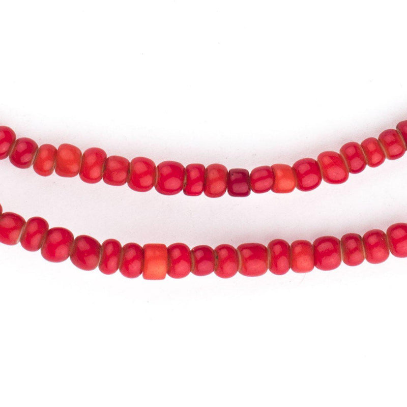 Old Ethiopian Red White Heart Beads (4mm) - The Bead Chest